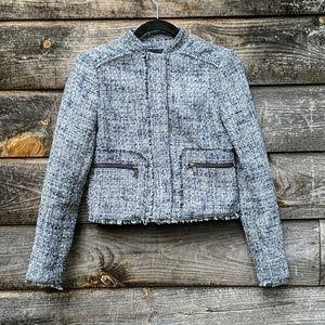 Banana Republic Raw Hem Tweed Jacket Zip Front